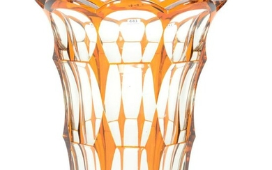 Vase, Bohemian Amber Cut To Clear Glass