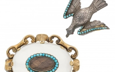 Victorian Hair, Turquoise, Chalcedony, Glass, Go