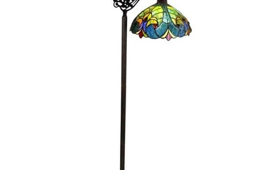Victorian Style Stained Art Glass Reading Lamp