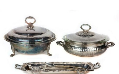 (lot of 21) Silver plated table articles