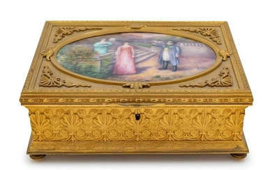 19th C. French Gilt Bronze & Enameled Jewelry Box