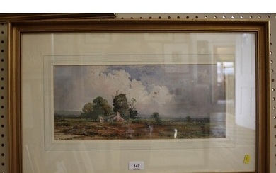 19th Century English School Lowland landscape with figure an...