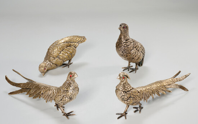 (2) pairs silver plated pheasant models