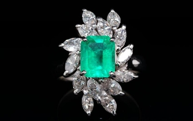 2.00ctw Diamond, 1.80ct Emerald & Platinum Ring