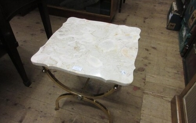 20th Century square gilt brass marble top occasional table (...