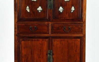 A CHINESE CABINET WITH MARBLE INSERTS