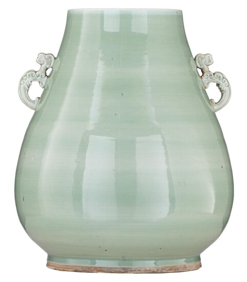 A Chinese celadon glazed Hu vase, paired with...