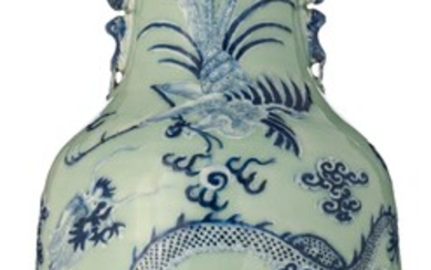 A Chinese celadon glazed vase, blue and white decorated with...