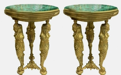 A FINE PAIR OF FIGURAL BRONZE AND MALACHITE SIDE TABLES