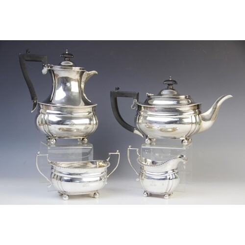 A George V silver four piece tea service by West & Son, Lond...