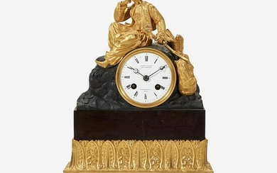 A German Patinated and Gilt Bronze Mantel Clock Late