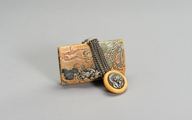A LEATHER TABAKO-IRE SET WITH DRAGON DECOR