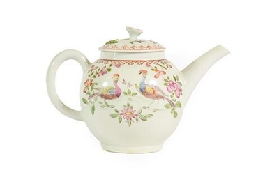 A Lowestoft Porcelain Teapot and Cover, circa 1770, with floral...