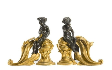 A Pair Of Gilt-Bronze Chenets