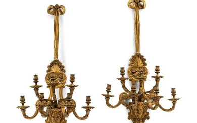 A Pair of Régence Style Gilt Bronze Seven-Light