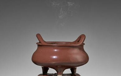 A RARE TRIPOD CENSER WITH MATCHING STAND, QING