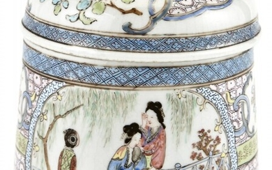 A Rare and Finely-Enameled Chinese Export Porcelain Lidded Jar