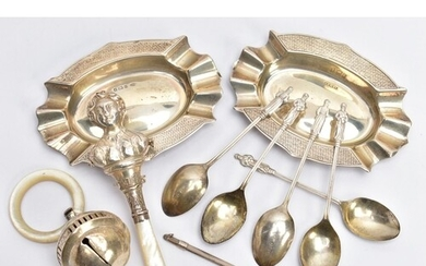 A SELECTION OF SILVER ITEMS, to include two silver oval shap...