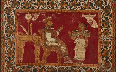 """A Singhalese painted plaster wall panel, Sri Lanka, 18th-19th century, of rectangular form, inscribed to reverse """"Singhalese tile, King Suddhodana Gohanna being informed of the birth of his son Buddha"""", old collection label """"237""""., framed, tile 38..."""