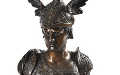 A bronze bust of Achilles with winged helmet