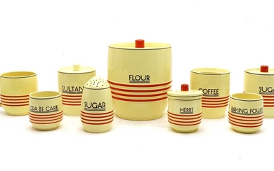 A collection of Mintons Art Deco kitchen ware