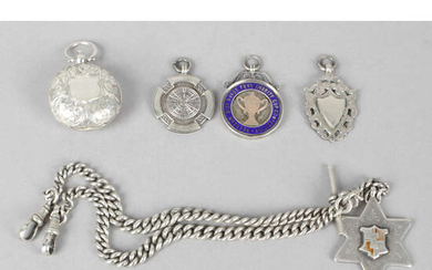 A collection of assorted items to include a silver sovereign case, silver Albert chain and fob, etc.