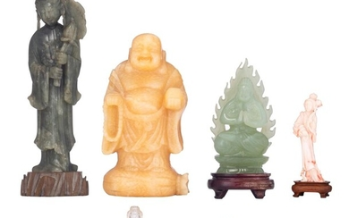 A collection of semi-precious stone and other material miniature figures, Republic period - 20thC, H 3,3 - 20,5 cm