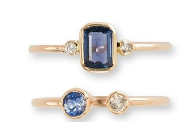 A group of sapphire, diamond and gold stacking rings
