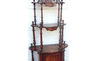 A late Victorian inlaid walnut whatnot, 158cm tall