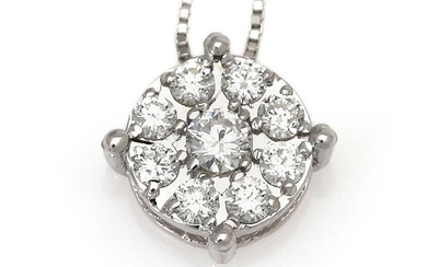 NOT SOLD. A necklace with a diamond pendant set with numerous diamonds weighing a total of app. 0.32 ct., mounted in 18k white gold. (2) – Bruun Rasmussen Auctioneers of Fine Art
