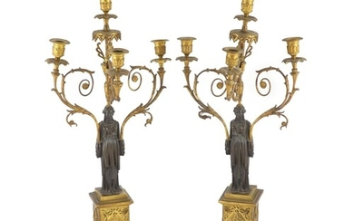 A pair of 19th-century French bronze and ormolu candelabra w...