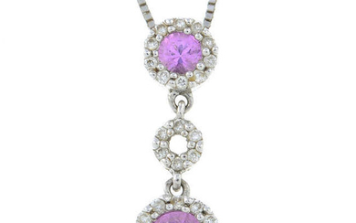 A pink sapphire and brilliant-cut diamond cluster drop pendant, suspended from an 18ct gold box-link chain.