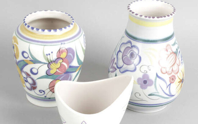 A selection of Poole pottery, to include a biscuit barrel and cover.