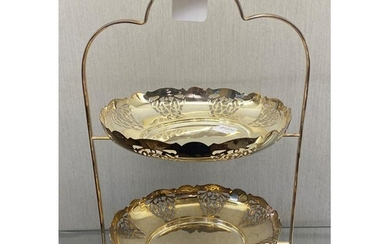A silver plated two tier cake stand, 38 cm high