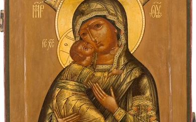 AN ICON SHOWING THE VLADIMIRSKAYA MOTHER OF GOD Russian, 18th...