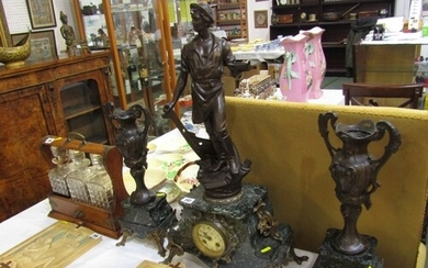 ANTIQUE CLOCK GARNITURE, a French coloured marble base 3 pie...