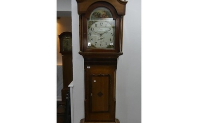 An early 19thC inlaid oak 30-hour Longcase Clock, the painte...