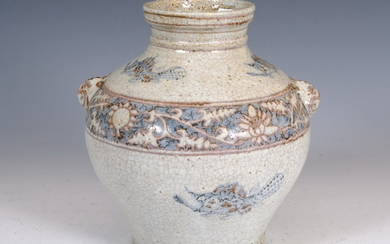 CHINESE CRACKLE-GLAZE PORCELAIN BALUSTER-FORM JAR WITH BROWN AND BLUE FISH...