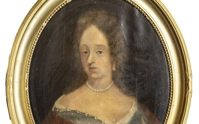 """CONTINENTAL OIL ON CANVAS, 19TH C, H 27"""", W 21"""", PORTRAIT OF WOMAN"""