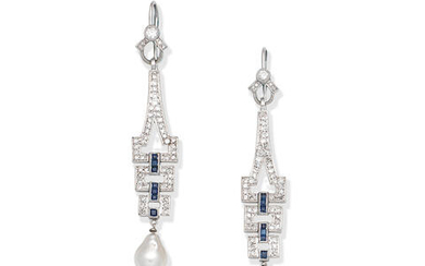 CULTURED PEARL, DIAMOND AND SAPPHIRE EARRINGS