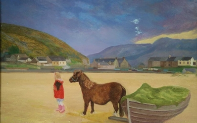 Denby Sweeting (1936-2020) Young Girl Walking Pony on the Beach, North Wales
