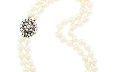 Double Strand Cultured Pearl Necklace with Low Karat