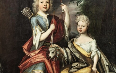 Double portrait of William and Mary Levinz in a landscape, Edward Byng