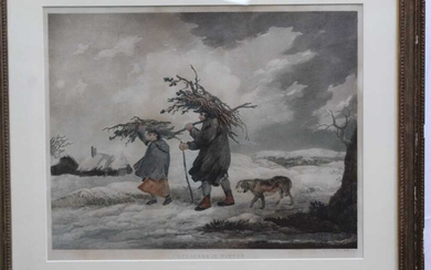 Early 19th century stipple engraving printed in colours by Thomas Williamson after George Morland - Cottagers In Winter, published 1812, 48cm x 59cm, in glazed frame