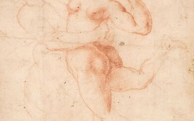 Florentine School, Early 17th Century. A Satyr abducting a Nymph, sanguine crayon on fine laid paper