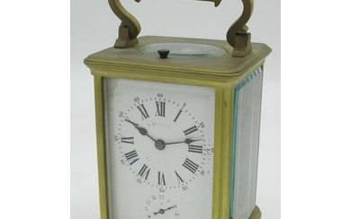 French gilt brass gorge cased repeating carriage alarm clock...
