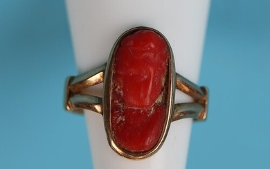 Gold & coral ring