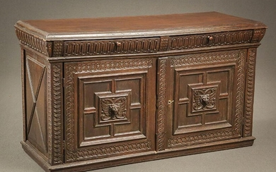 Italian Baroque Style Walnut Credenza Composed of 17th-18th Century Elements