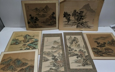 Lot 7 Vintage Chinese Landscape Paintings on Silk