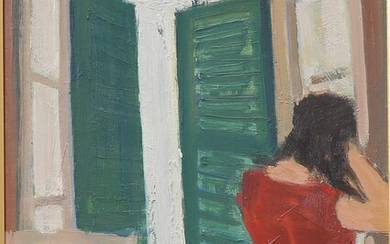 OVE OLSON. Woman by the window, oil on Board, signed Olson, dated -72.